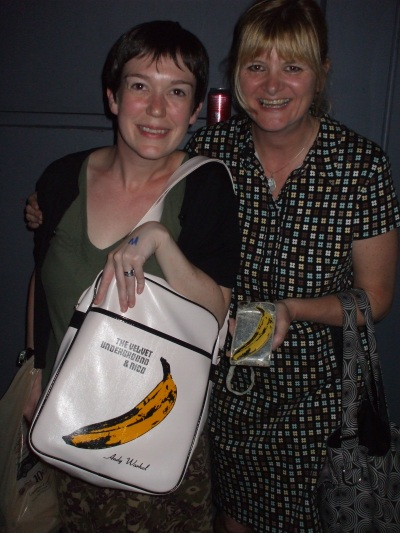 Barbara Manning fan and Barbara Manning with matching VU satchel and cellphone cover respectively - I love this photo!