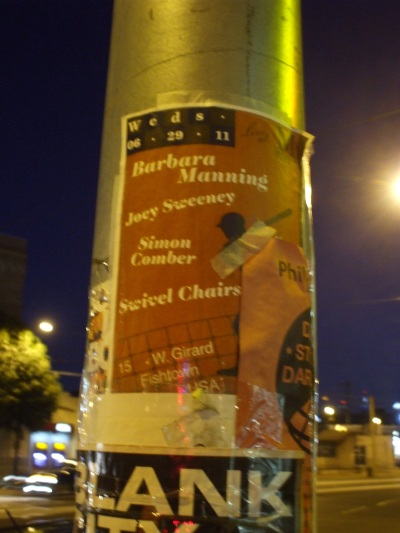 Poster by Jeremy from the Swivel Chairs - attached to lamppost by Jim Moran, righteous show-booking dude.